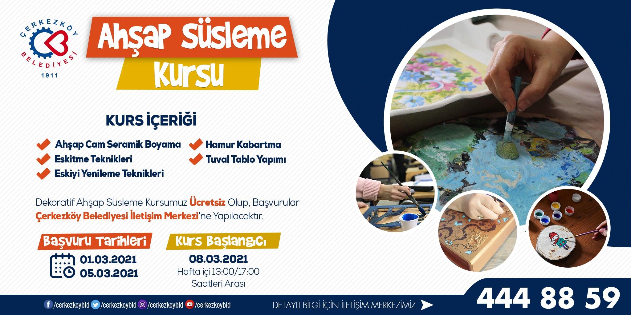 Çerkezköy'de Dekoratif Ahşap Süsleme Kursu Kayıtları Alınıyor