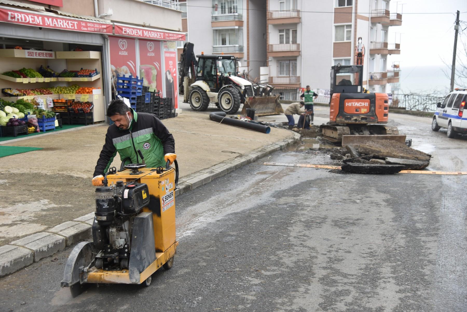 Giresun'da Altyapı Çalışmaları Sürüyor