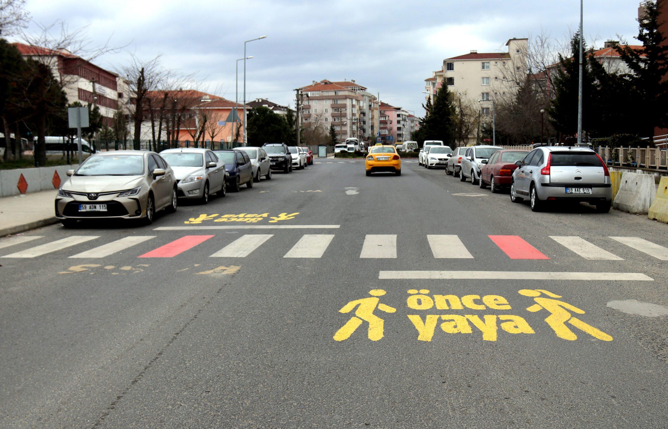 Çerkezköy Yaya Önceliğini Kırmızı Çizgiyle Vurguladı