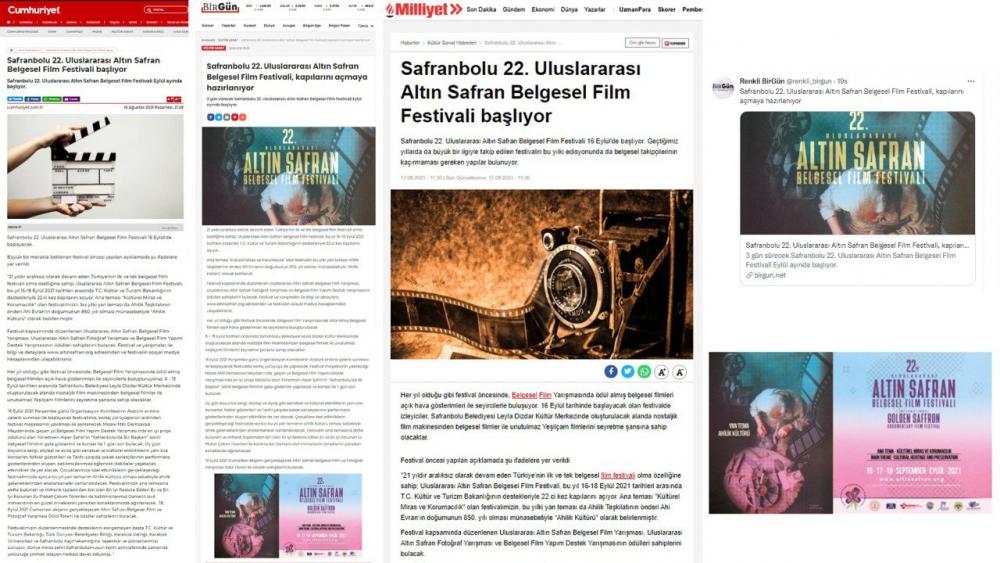 Safranbolu Belediyesi, Altın Safran Belgesel Film Festivali Ulusal Basında Yer Aldı