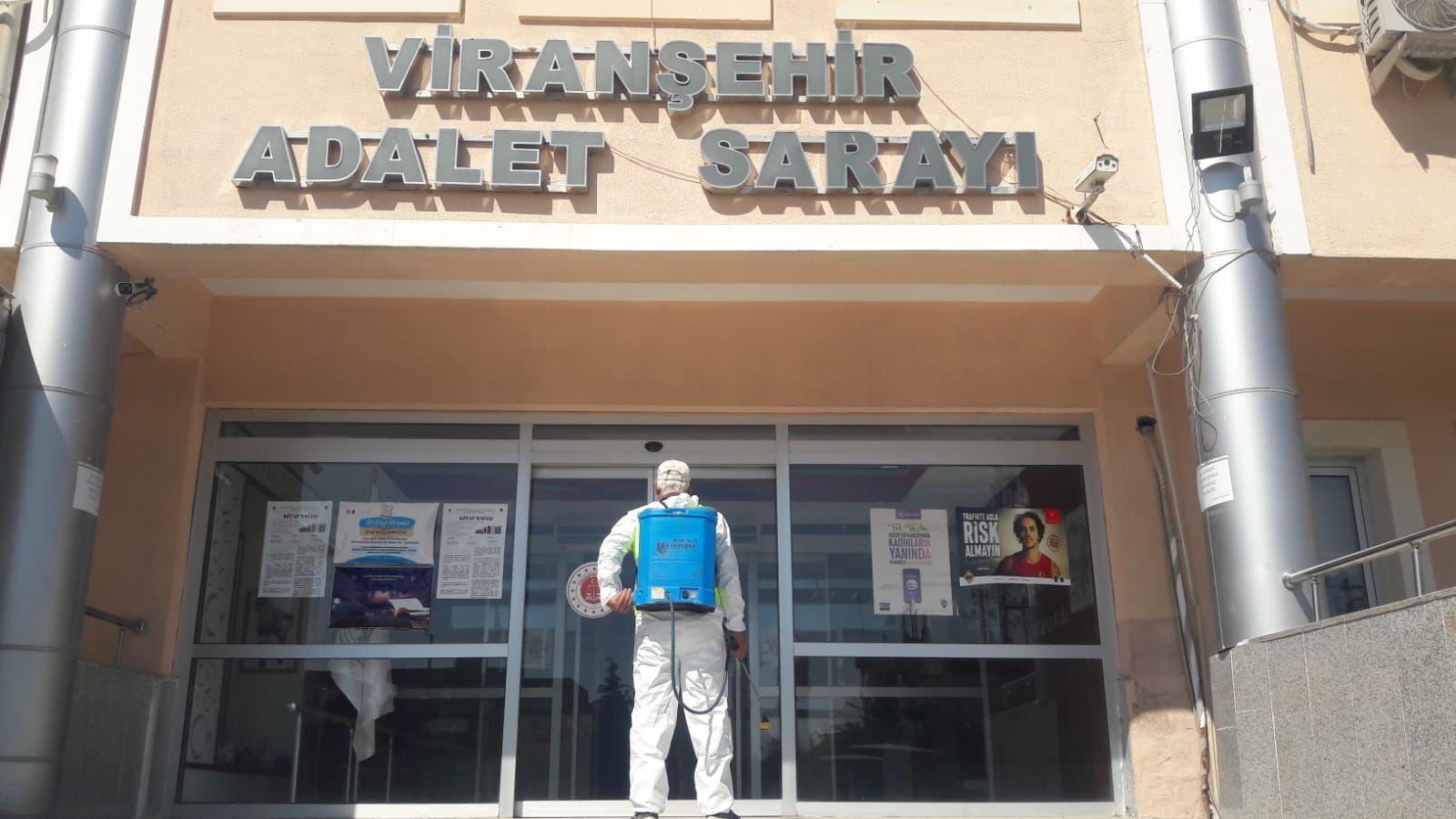 Viranşehir'de Ortak Kullanım Alanları Dezenfekte Edildi